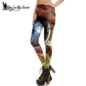 Steampunk Universe Clock Red Blue Fitness Cosplay Leggings for Women