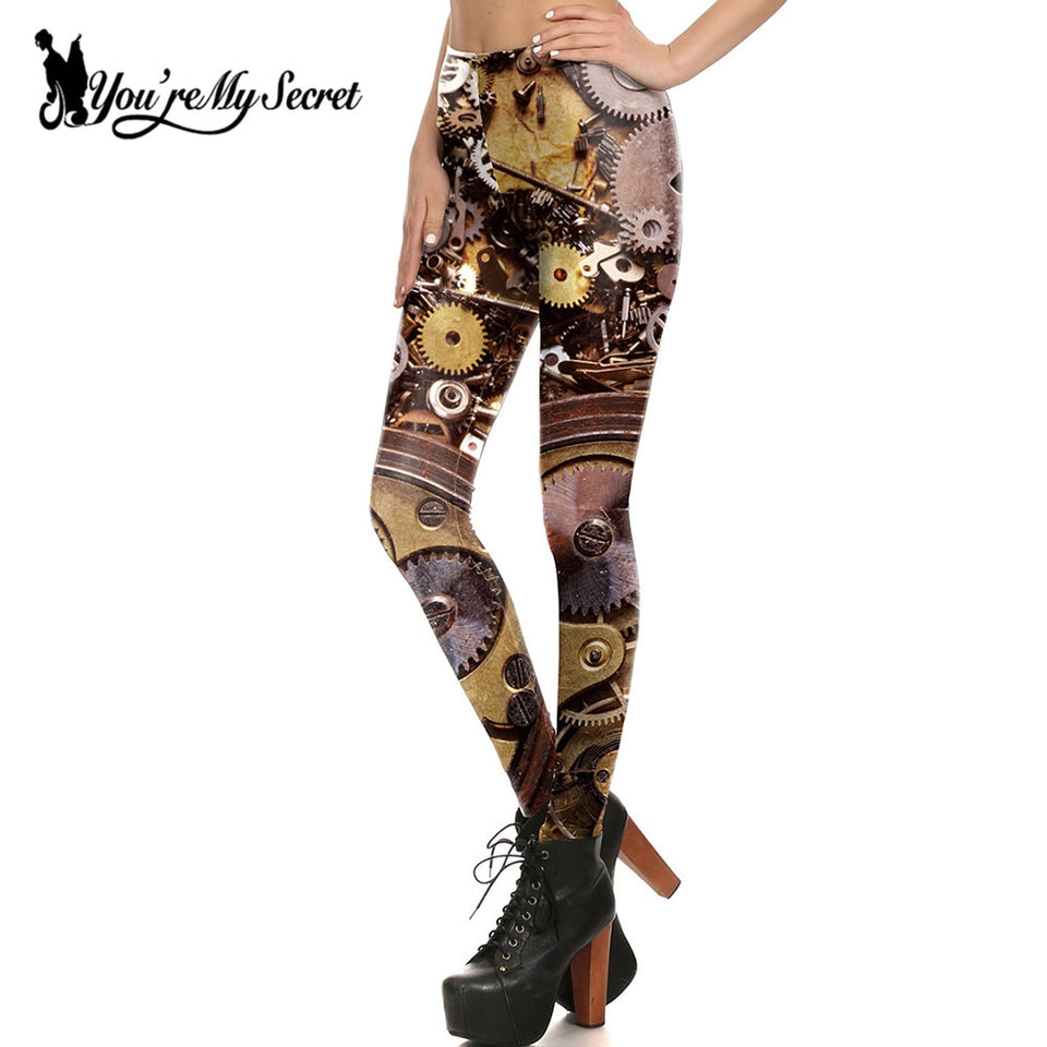 Steampunk Mechanical Clock Gear Leggings for Women