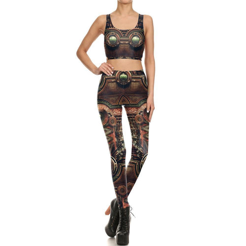 Steampunk Retro Gothic Mechanical Leggings for Women