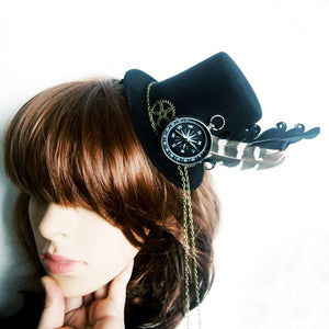 Retro Women Feather Hairclip Steampunk Mini Top Hat Lolita Cosplay Fedoras Hat Gothic Geer Compass Chain Head Wear Halloween