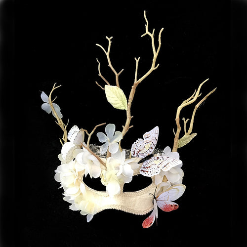 Drop Shipping Fine Handmade White Flower Lace Mask Masquerade Party Makeup Opera Butterflies Antler Masks Vintage