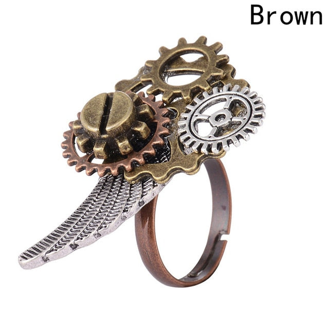 Fashion Steampunk Gears Clock Style Ethnic Rings For Women Girls 2018 Vintage Steam Punk Adjustable Jewelry Anillos Mujer Hombre