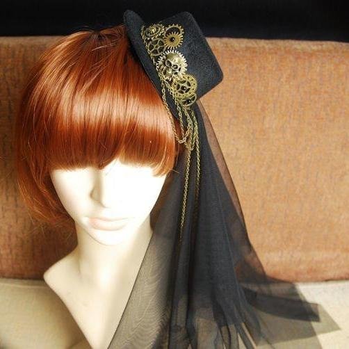 Vintage Gothic Steampunk Loita Cosplay Mini Top Hat Retro Headdress for Women Black