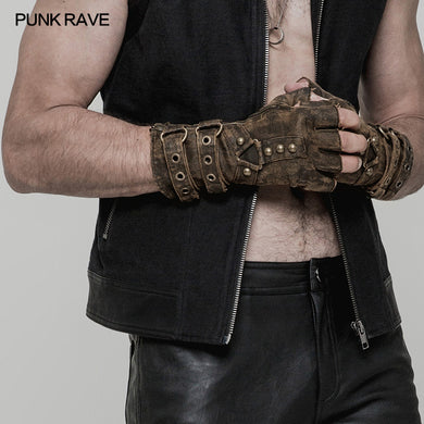 One Pair Punk Rave Mens Coffee Gray Colours Steampunk Fingerless Gloves Military Gothic Dieselpunk motocycle WS252