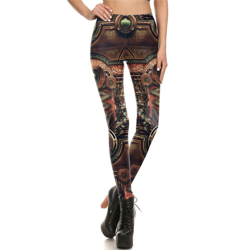 Steampunk Gothic Mechanical Gear Cosplay Fitness Cosplay Leggings for Women