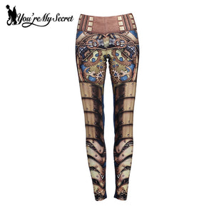 Steampunk Robot Mechanical Fitness Cosplay Leggings for Women