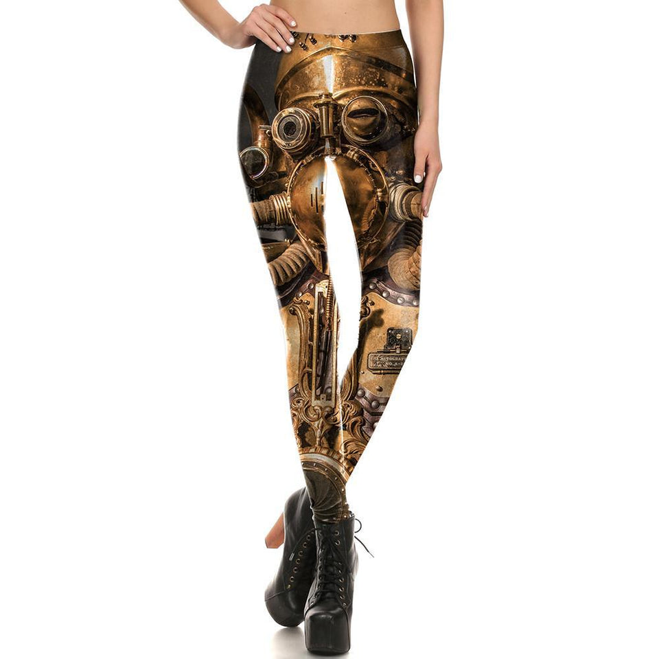 Steampunk Gold Robot Fitness Cosplay Leggings for Women