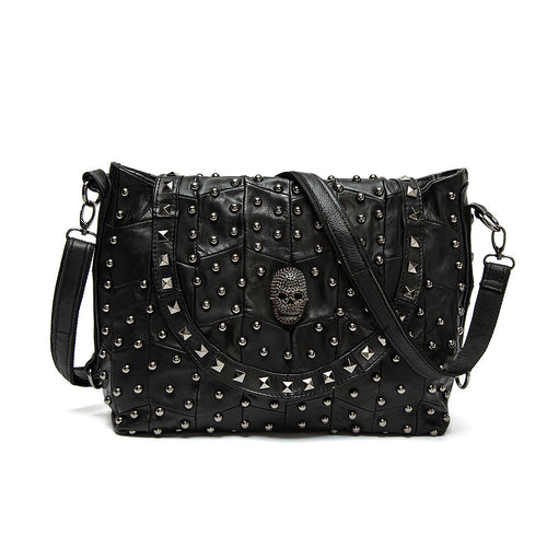 Euramerican Style Fashion Genuine Leather Cool Skull Rivet Women Bags Punk Style Travel Messenger Bags Casual Women HandBags