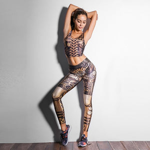 Steampunk Mechanical Gear 3D Print Leggings for Women