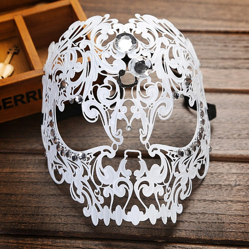 Diamond Ball Full Face Mask Metal Filigree Halloween Skull Rhinestone Mask Venetian Costume Masquerade Tiger Head Makeup Mask