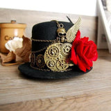 Steampunk Gear & Skull Wing Mini Top Hat Retro Gothic Lolita Fedoras Hats with Flower