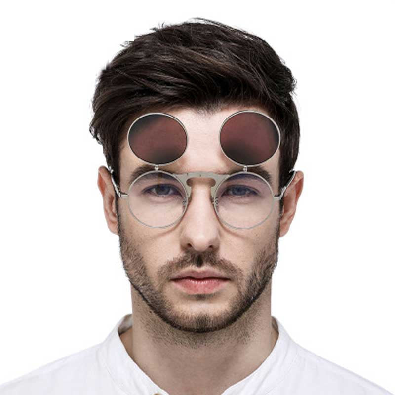 Flip Up Sunglasses Steam punk Men Circle Sun glasses Vintage Round Steampunk Glasses Women Retro Metal Coating Lens Sun glasses