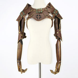 Corzzet High Quality Retro Brown Leather Armor Arm Bolero Cape Wraps Top Jacket Costume Warrior Steampunk Clothing