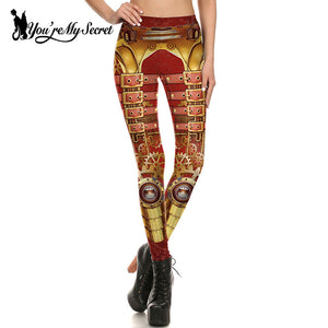 Steampunk Design Print Gears of War Fitness Cosplay Leggings for Women