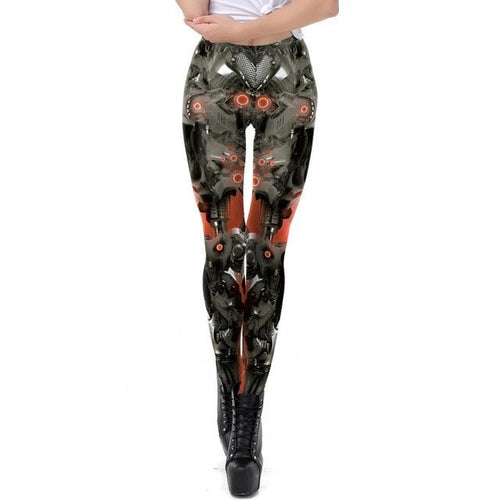 Steampunk Metal Robot Red Black Gear Fitness Cosplay Leggings for Women