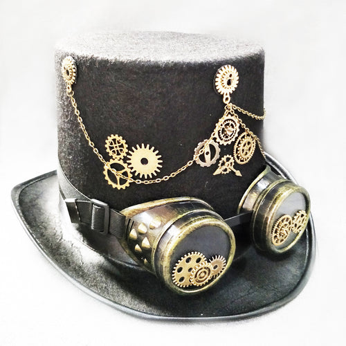 Steam Punk Gothic Vintage Hat Gear Glasses Party Fedora Top Hat