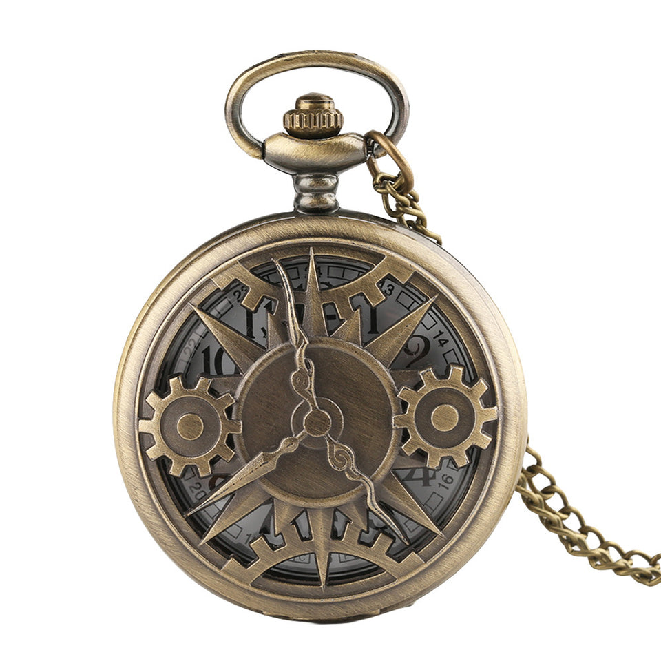 Men's Pocket Watch, Hollow Gear Steampunk Pocket Watch, Retro Bronze Cool Stylish Best Vintage Gift for Men