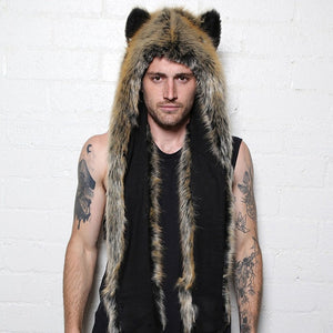 Wolf Faux Fur Hood Animal with Scarf Gloves