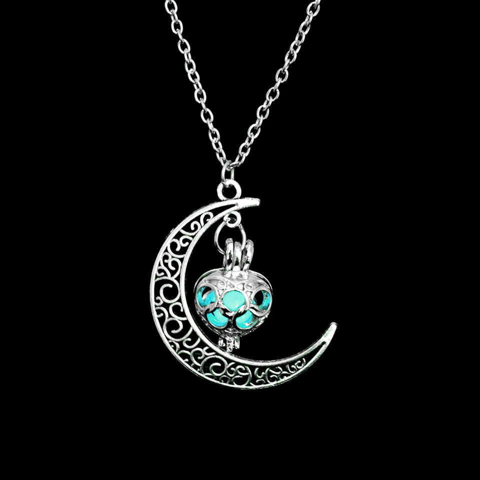 Moon Glowing Necklace, Gem Charm Jewelry, Silver Plated, Halloween Gifts