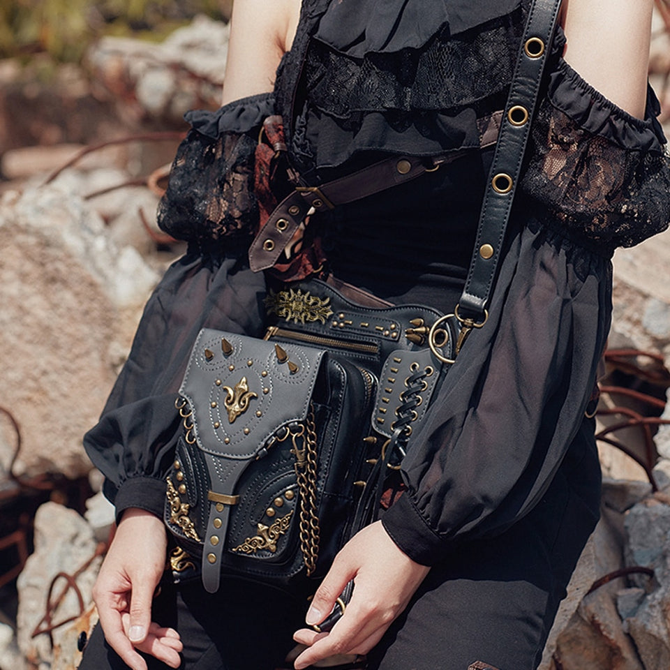 Punk Waist Bags Vintage Messenger Bag Fashion Black Shoulder Bags Mobile Phone Travel Funny Pack Steampunk Leather Leg Bag Belt