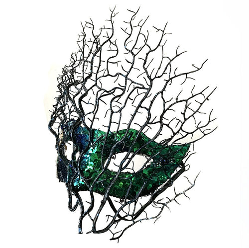 Fashion Feather Flower Colorful Lace Mask Venetian Masquerade Halloween Ball Party Tree Branches Antler Mask Costumes