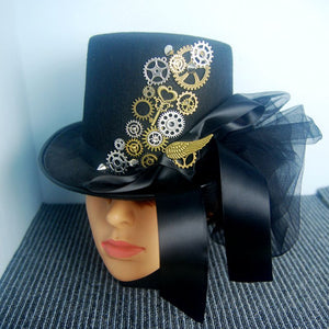 Retro Halloween Hat Steampunk Gears Top Hats Wing Black Punk Fedora Gothic Ribbon Lace Headwear For Man/Women Hat Accessory