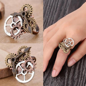 1Pcs Vintage Steampunk Wheel Gear Ring Punk Antique Copper Rings Party Jewelry