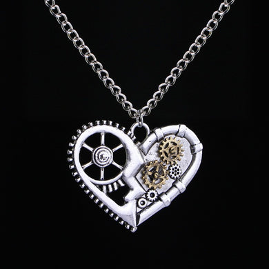 Women Men Fashion Vintage Steampunk Heart Shaped Mechanical Gear Pendant Necklace Insect Owl Butterfly Pendant Chain Clavicle Necklace Jewelry Gifts