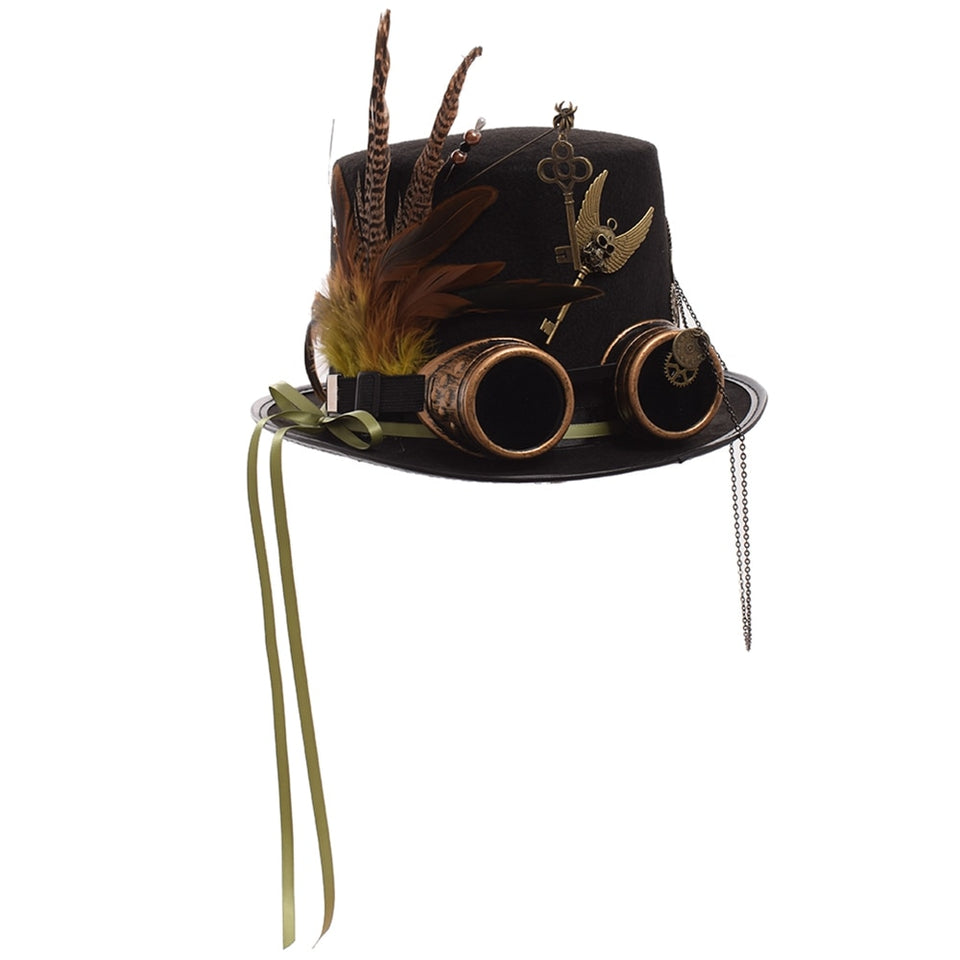 Black Feather Top Hat Steampunk Gears With Googles
