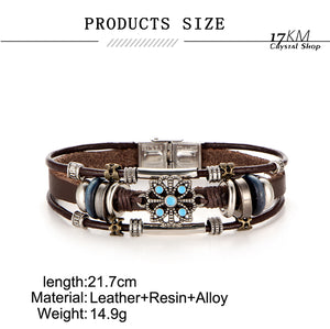 17KM 2 Style Vintage Flower Bracelets & Bangle Boho Multiple Layers Leather Bracelet Handmade Female Punk Jewelry for Women Man
