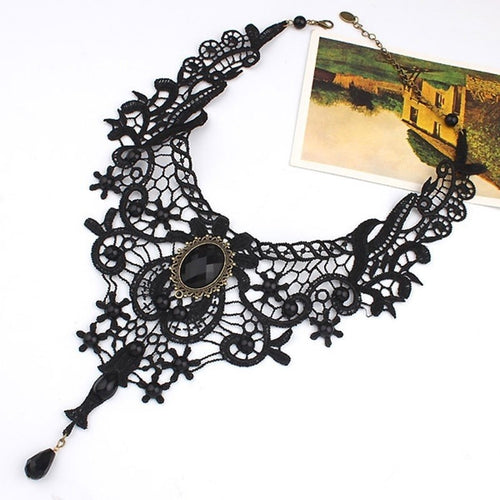 Black Lace Beads Choker Victorian Steampunk Style Gothic Collar Necklace