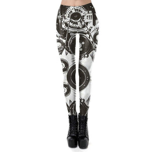 Steampunk Retro Vintage Mechanical Gear 3D Digital Print Leggins for Women