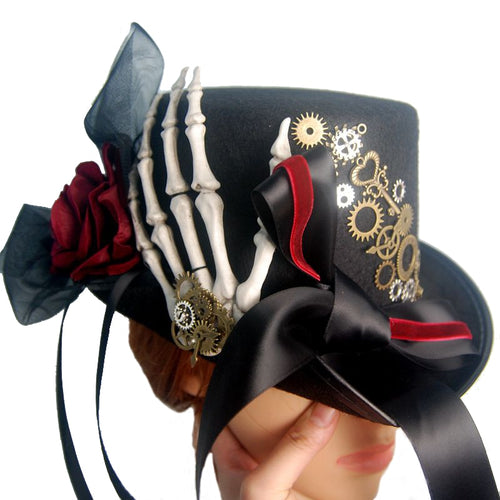 Steampunk Skeleton Hand Hat Punk Gears Ribbon Lace Hats Fedora Gothic Accessories For Man/Women