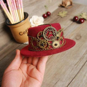 Ladies Steampunk Mini Top Hat Red Halloween Fancy Dress Custume Hats With Gears Chain Accessories