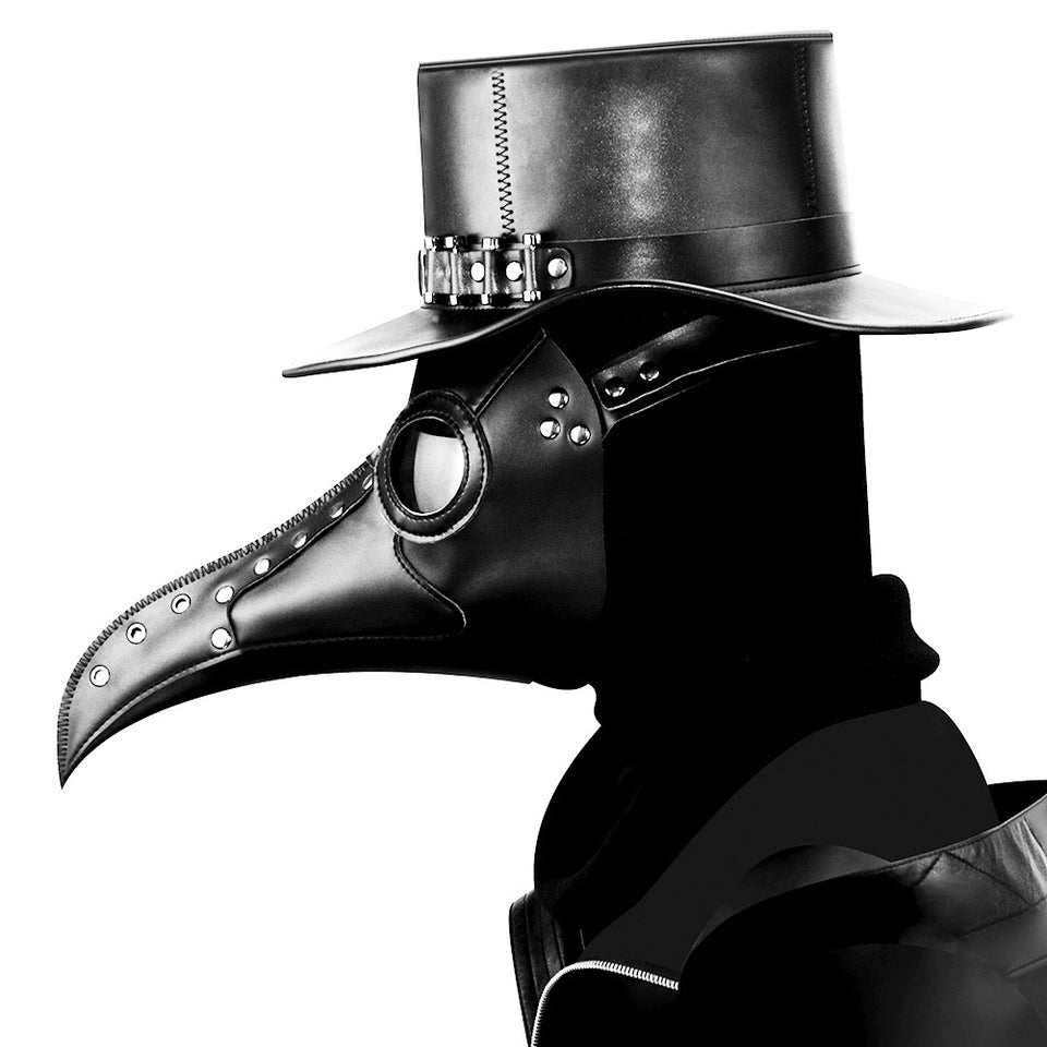 Corzzet Steampunk Gold PU Leather Long Nose Plague Bird Mask Doctor Mask Adult Cosaply Gothic Retro Rock Leather Halloween Mask