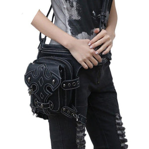 2017 New Design Top Quality PU Leather Men Women Ride Leg Motorcycle Punk Rock Retro Cross Body Shoulder Waist Fanny Pack Bags