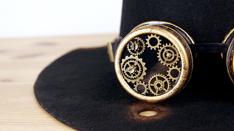 Steampunk Deluxe Woolen Top Hat with Goggles Gears