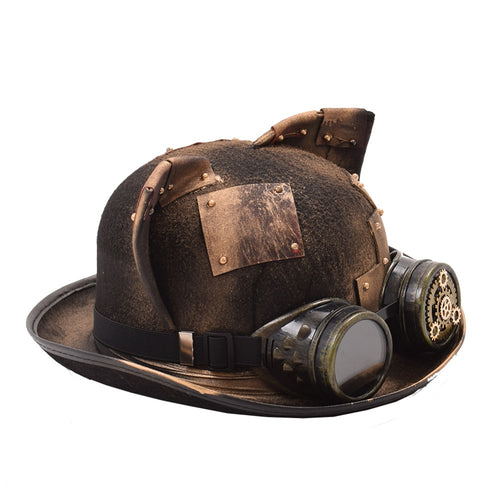Cat Ear Steampunk Hat with Patch Gear Glasses Topper