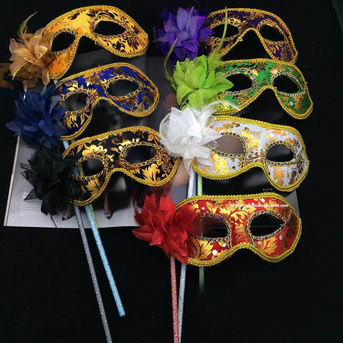 1Pc Masks Venetian Masquerade Eye Mask On Stick Mardi Halloween For Party Prom Ball Purple Fantasy 2018 New Hot Sale new Masks