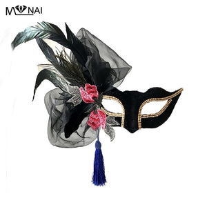 Handmade Cosplay Masks Lady Masquerade Ball Party Lace Veil Mask with Feather Embroider Flower Tassel Mask Gothic