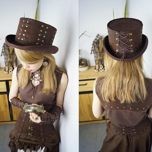 Steampunk Rivet Woolen Fedora Top Hat