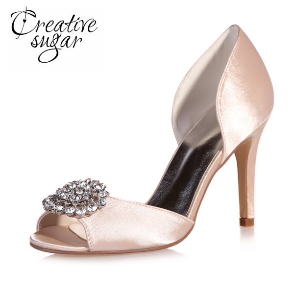 Creativesugarsatin D orsay crystal rhinestone charm open toe woman shoes  watercolor wedding party evening dress df8084e0401e