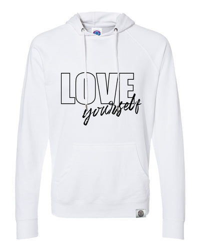 LOVE yourself Loopback Terry Lightweight White Hoodie