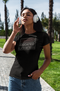 Danger Educated Black Woman Rhinestone T-shirt