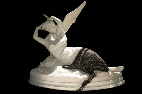 Cupid & Psyche marble sculpture with ärtskül's Baby Pop Nana Rectangle Cashmere Blend scarf.
