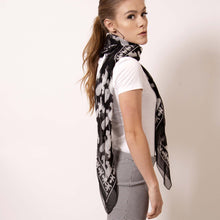 Load image into Gallery viewer, Don't think in a box when it comes to a square scarf.  Transform  artskul's edgy Baby Pop Medium Square Scarf into a vest to summon your boss babe self at the office.  ärtskül scarves are statement pieces, adding edgy sophistication to any style that it's paired with - from streetwear to the office and into the evening.