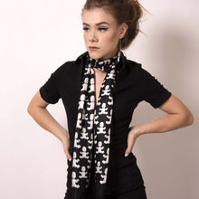 Load image into Gallery viewer, Artskul's Baby Pop Rectangle Scarf in silk twill featuring our eye catching remixed houndstooth pattern from the Baby Pop collection is a chic style staple. This wear to work ensemble in black and white is a luxe look for any occasion.