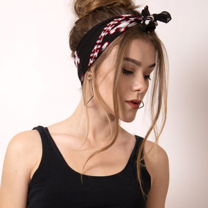 Bandana Hairstyles are the effortless way to stay on trend and look great.  Artskul's black, white and red Baby Pop Bandana  is made from the softest Italian cotton. The bandana elevates your look and adds a bit of the unexpected for a chic yet edgy statement.