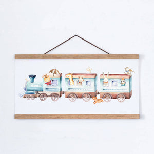 Animal Train Children's Nursery Print