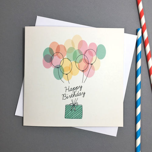 Birthday Balloons With Present Card
